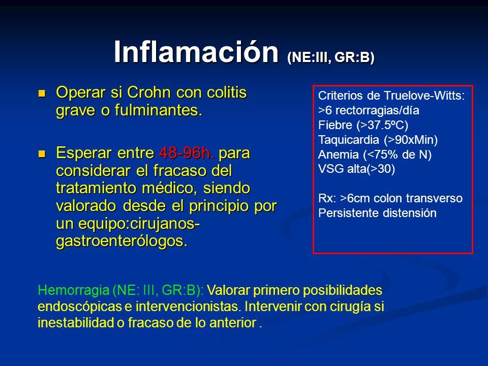 Inflamación (NE:III, GR:B) Operar si Crohn con colitis grave o fulminantes. Operar si Crohn con colitis grave o fulminantes. Esperar entre 48-96h. par