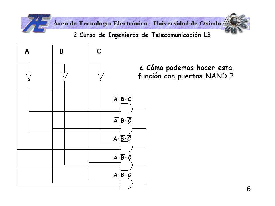 2 Curso de Ingenieros de Telecomunicación L3 17 EJEMPLO DE APLICACIÓN OBTENER LA PRIMERA Y SEGUNDA FORMA CANÓNICAS DE LA FUNCIÓN BIT DE PARIDAD PAR DEL CÓDIGO BCD 1º Tabla de verdad 2º Primera (segunda) forma canónica 3º Conversión a la segunda (primera) forma 4º Implementar con puertas NAND o NOR D C B A 0 0 0 0 0 1 0 0 1 0 0 0 1 1 0 1 0 0 0 1 0 1 1 0 0 1 1 1 1 0 0 0 1 0 0 1 01101001100110100110