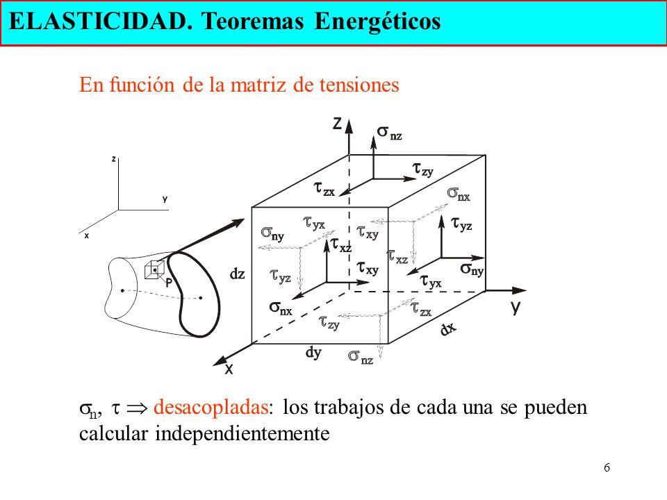 6 ELASTICIDAD. Teoremas Energéticos En función de la matriz de tensiones n, desacopladas: los trabajos de cada una se pueden calcular independientemen