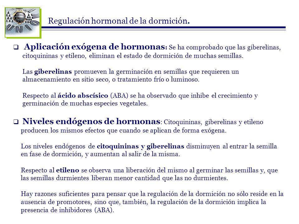 Regulación hormonal de la dormición. Aplicación exógena de hormonas : Se ha comprobado que las giberelinas, citoquininas y etileno, eliminan el estado