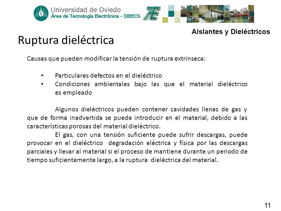 Aislantes y Dieléctricos 11 Ruptura dieléctrica Causas que pueden modificar la tensión de ruptura extrinseca: Particulares defectos en el dieléctrico