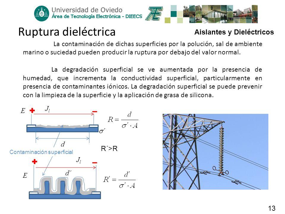Aislantes y Dieléctricos 13 Ruptura dieléctrica La contaminación de dichas superficies por la polución, sal de ambiente marino o suciedad pueden produ