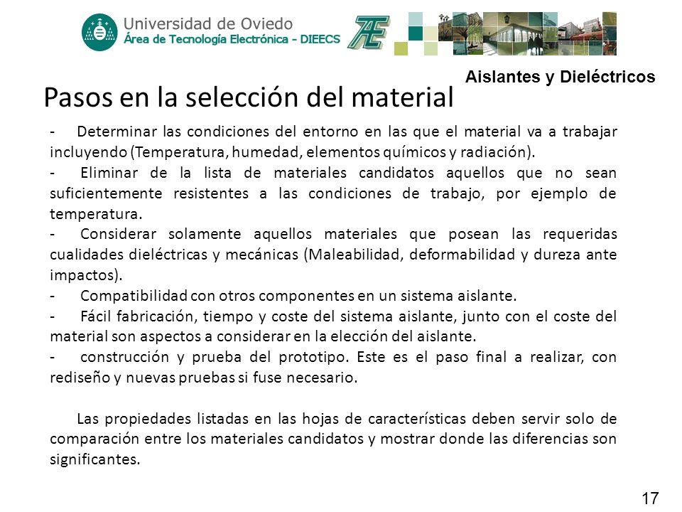 Aislantes y Dieléctricos 17 Pasos en la selección del material -Determinar las condiciones del entorno en las que el material va a trabajar incluyendo