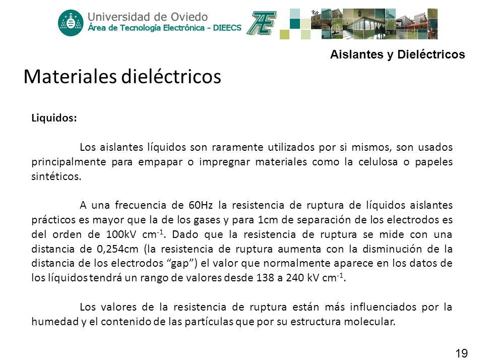 Aislantes y Dieléctricos 19 Materiales dieléctricos Liquidos: Los aislantes líquidos son raramente utilizados por si mismos, son usados principalmente