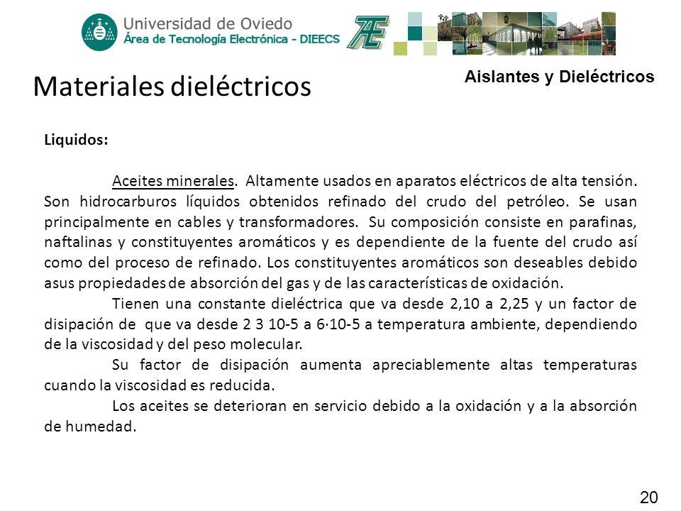 Aislantes y Dieléctricos 20 Materiales dieléctricos Liquidos: Aceites minerales. Altamente usados en aparatos eléctricos de alta tensión. Son hidrocar