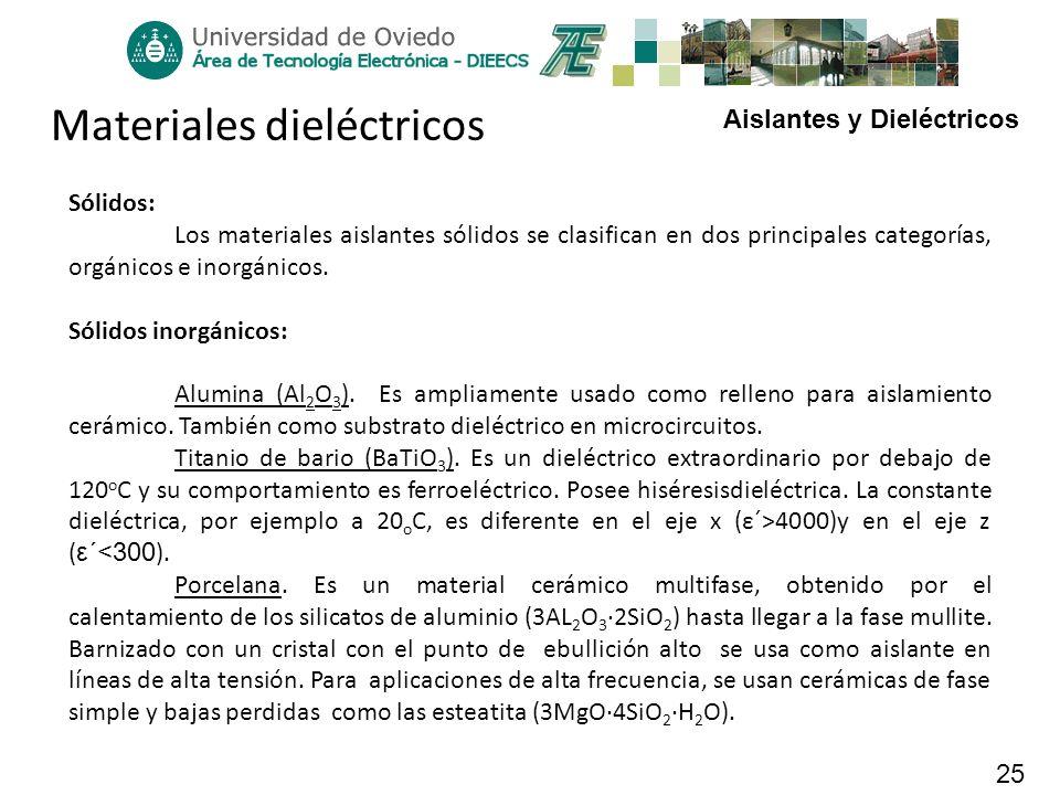 Aislantes y Dieléctricos 25 Materiales dieléctricos Sólidos: Los materiales aislantes sólidos se clasifican en dos principales categorías, orgánicos e