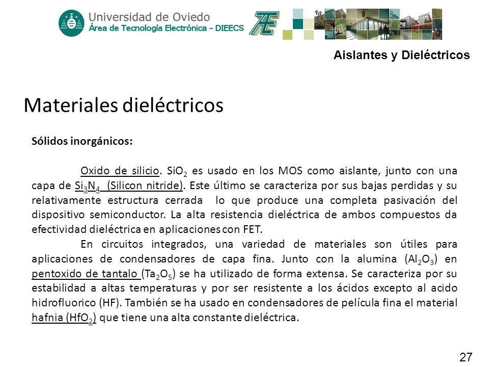 Aislantes y Dieléctricos 27 Materiales dieléctricos Sólidos inorgánicos: Oxido de silicio. SiO 2 es usado en los MOS como aislante, junto con una capa