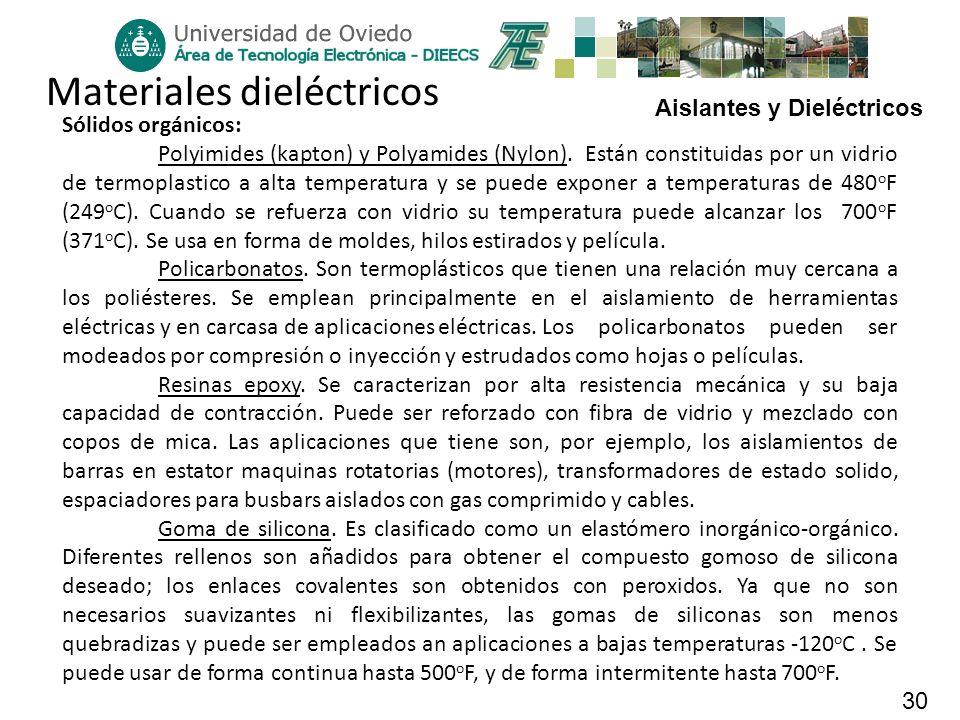 Aislantes y Dieléctricos 30 Materiales dieléctricos Sólidos orgánicos: Polyimides (kapton) y Polyamides (Nylon). Están constituidas por un vidrio de t