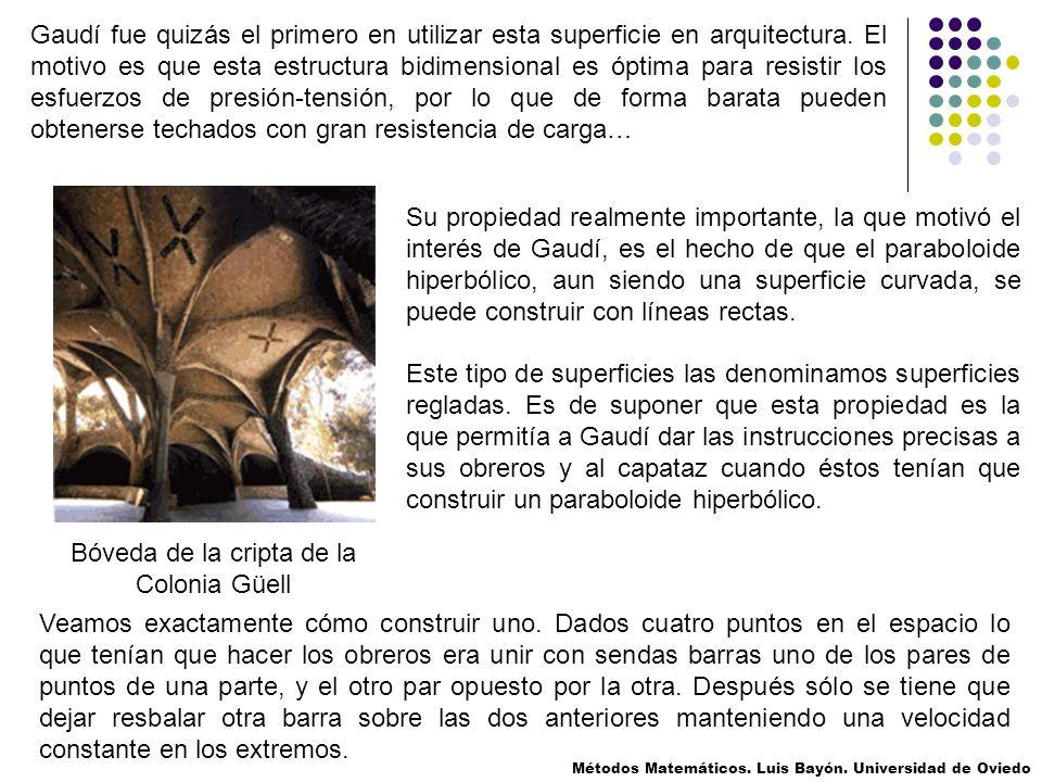 Gaudí fue quizás el primero en utilizar esta superficie en arquitectura. El motivo es que esta estructura bidimensional es óptima para resistir los es