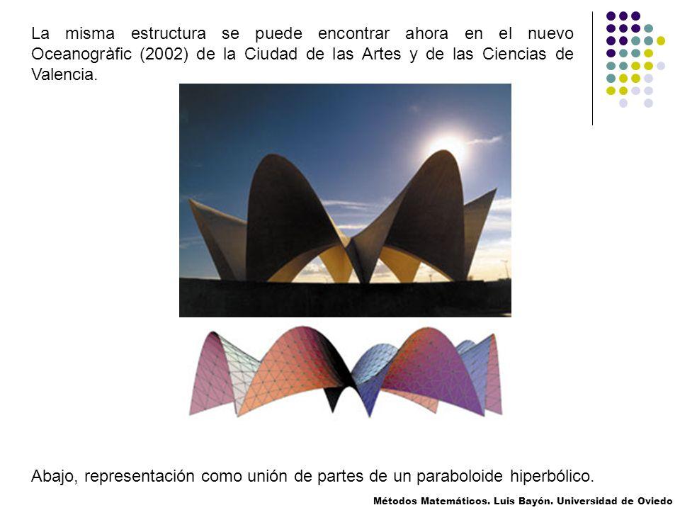 Abajo, representación como unión de partes de un paraboloide hiperbólico. La misma estructura se puede encontrar ahora en el nuevo Oceanogràfic (2002)