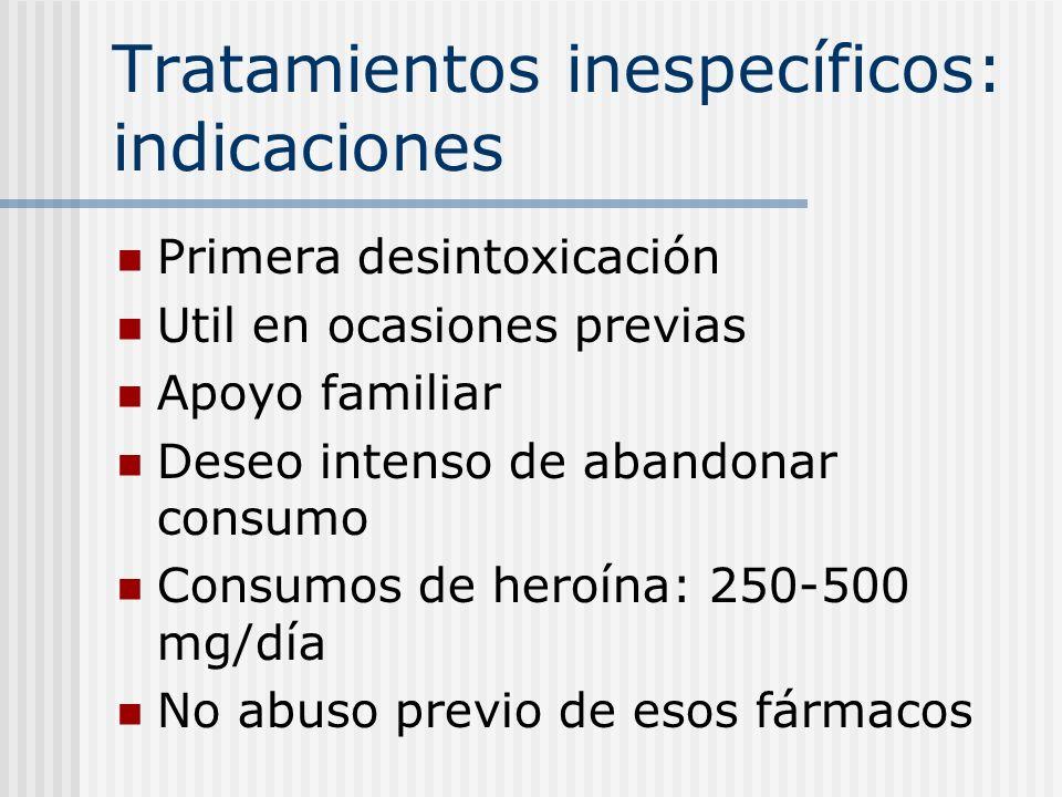 Tratamientos inespecíficos: indicaciones Primera desintoxicación Util en ocasiones previas Apoyo familiar Deseo intenso de abandonar consumo Consumos