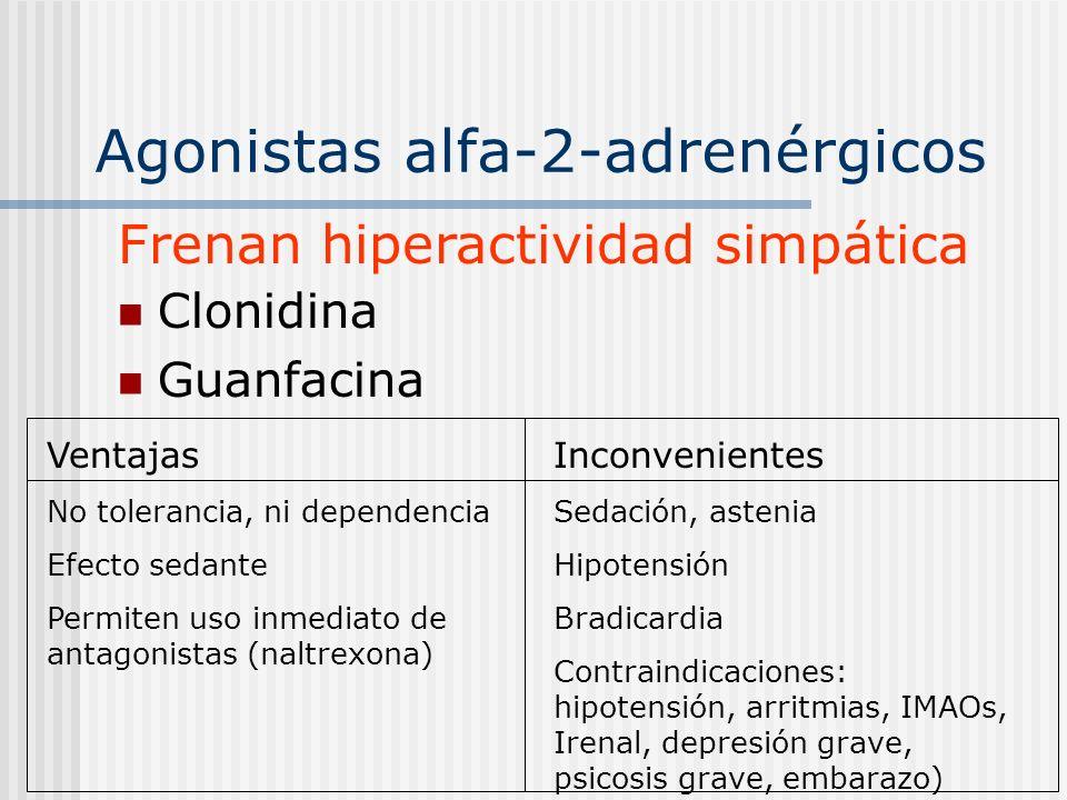 Agonistas alfa-2-adrenérgicos Clonidina Guanfacina Frenan hiperactividad simpática Ventajas No tolerancia, ni dependencia Efecto sedante Permiten uso