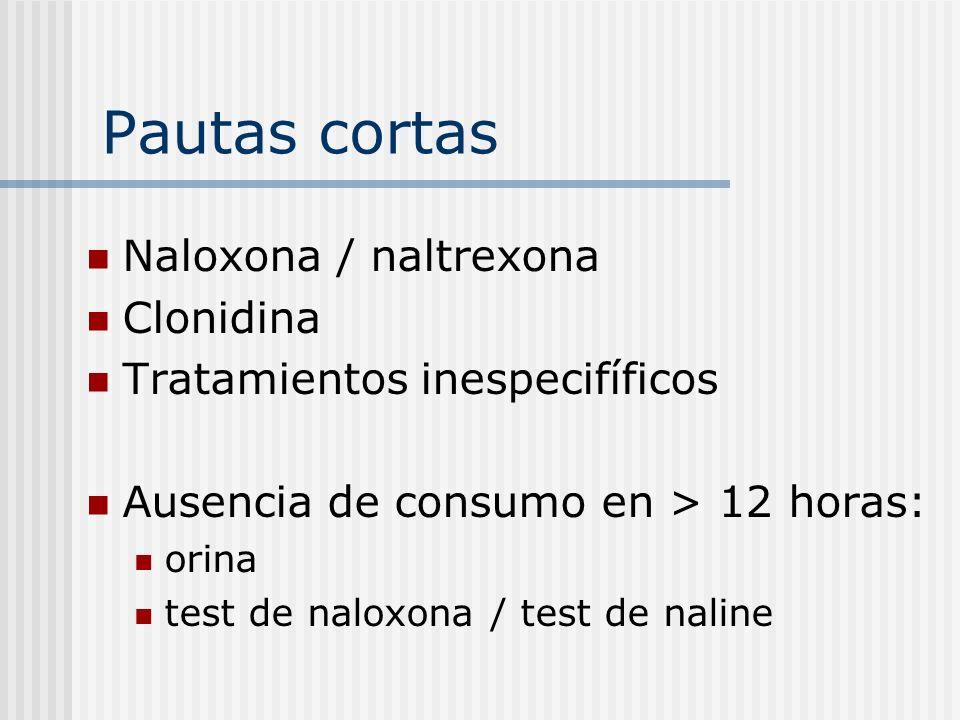 Pautas cortas Naloxona / naltrexona Clonidina Tratamientos inespecifíficos Ausencia de consumo en > 12 horas: orina test de naloxona / test de naline