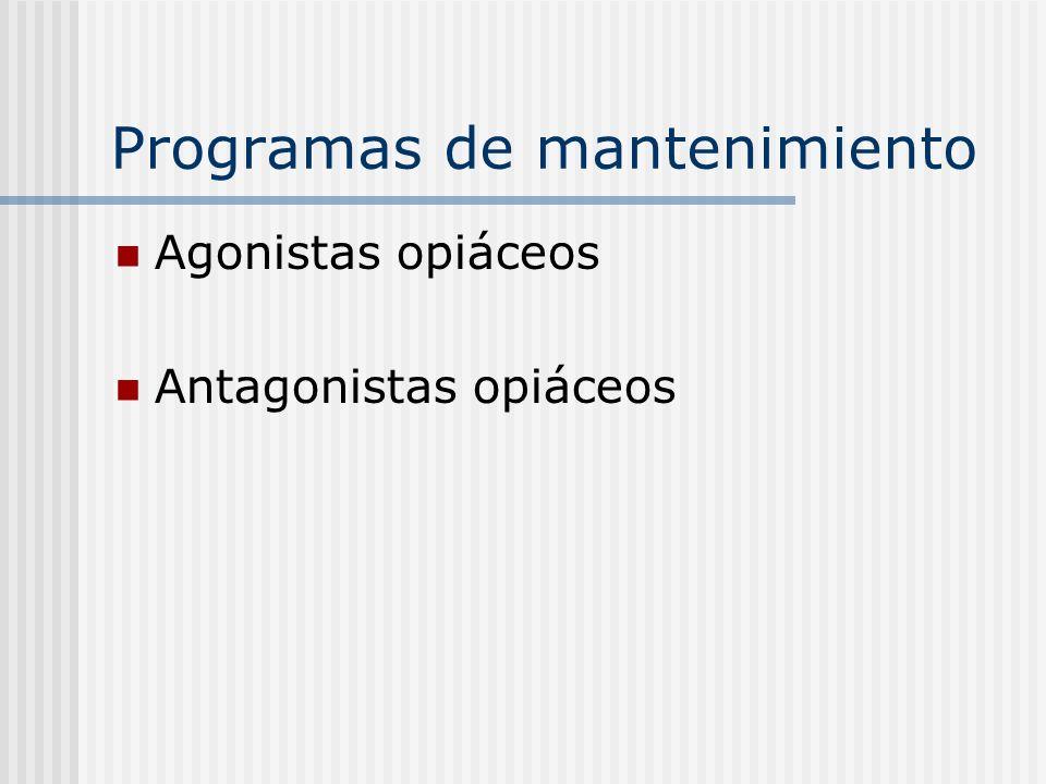 Programas de mantenimiento Agonistas opiáceos Antagonistas opiáceos