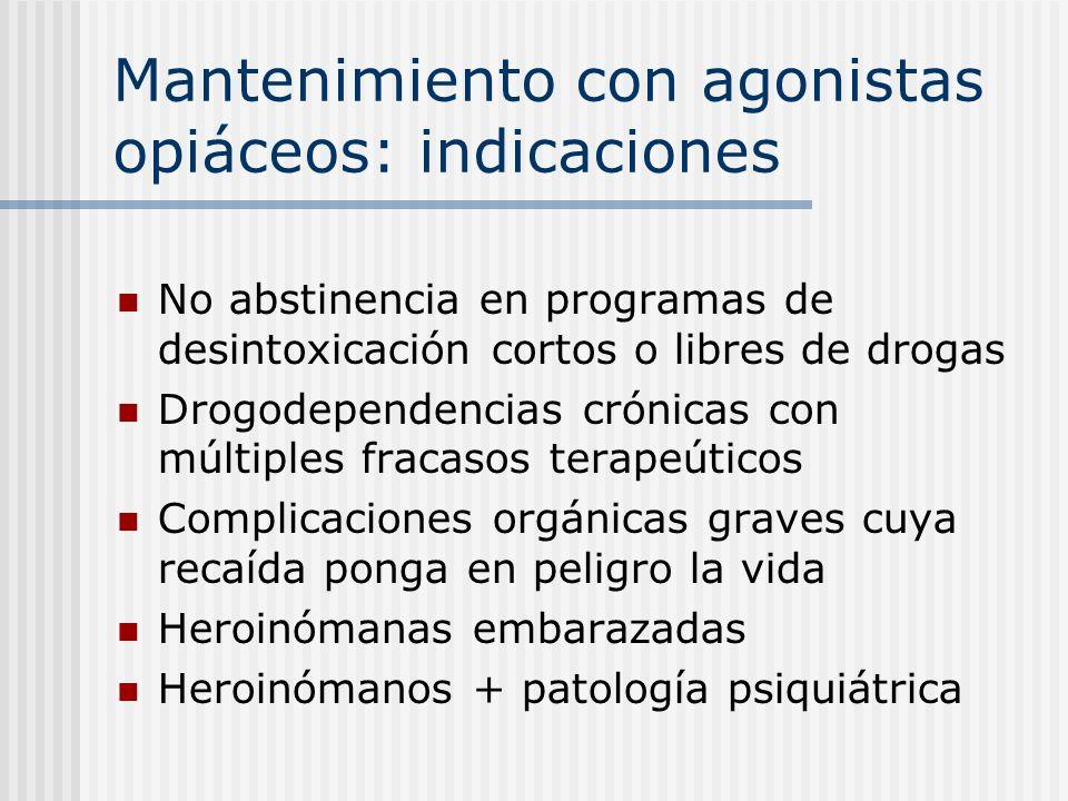 Mantenimiento con agonistas opiáceos: indicaciones No abstinencia en programas de desintoxicación cortos o libres de drogas Drogodependencias crónicas