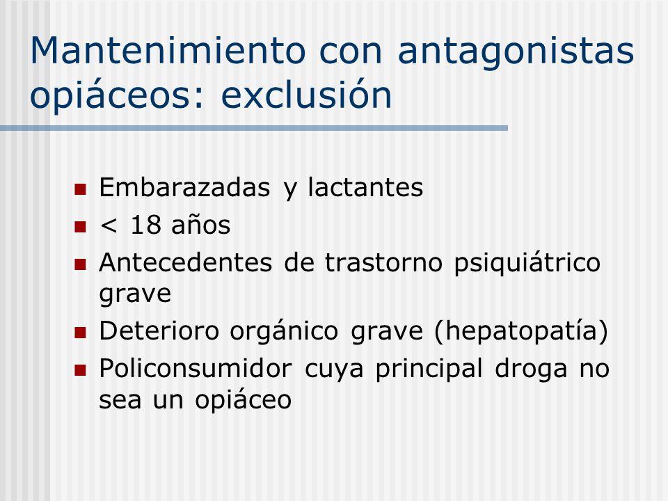 Mantenimiento con antagonistas opiáceos: exclusión Embarazadas y lactantes < 18 años Antecedentes de trastorno psiquiátrico grave Deterioro orgánico g