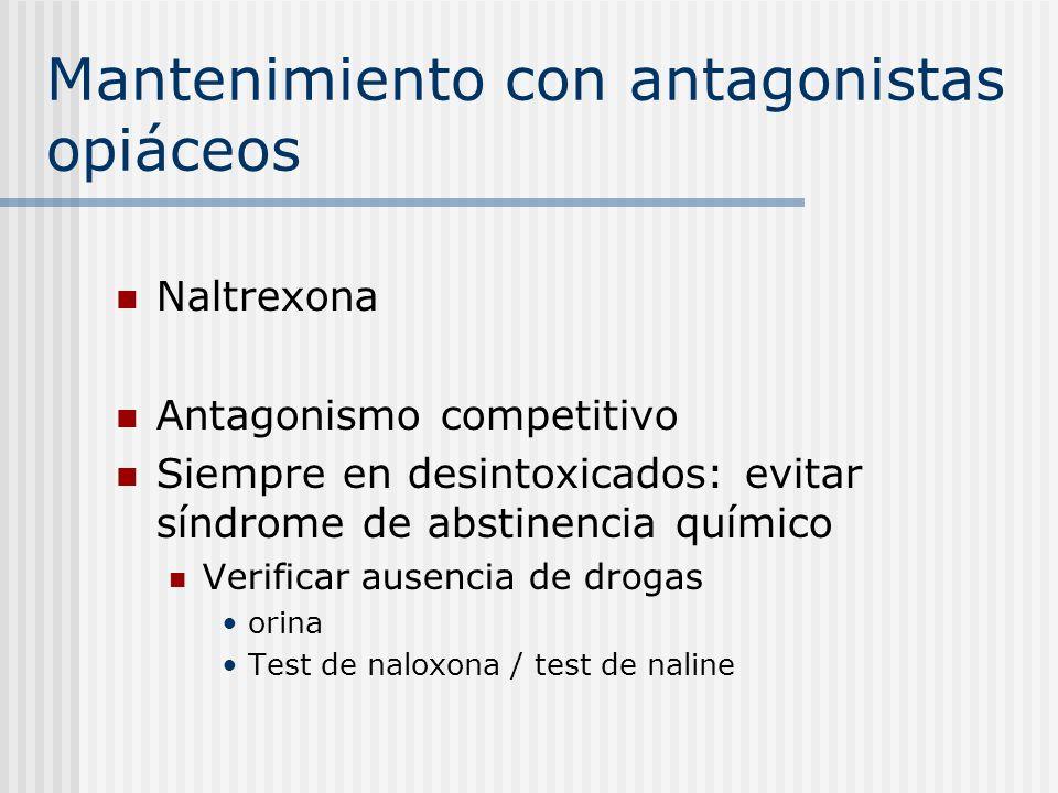 Mantenimiento con antagonistas opiáceos Naltrexona Antagonismo competitivo Siempre en desintoxicados: evitar síndrome de abstinencia químico Verificar