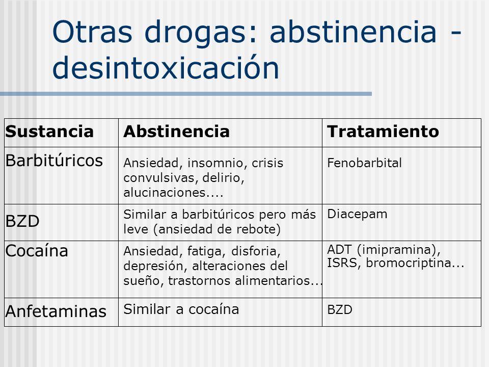 Otras drogas: abstinencia - desintoxicación Sustancia Barbitúricos BZD Cocaína Anfetaminas Abstinencia Ansiedad, insomnio, crisis convulsivas, delirio