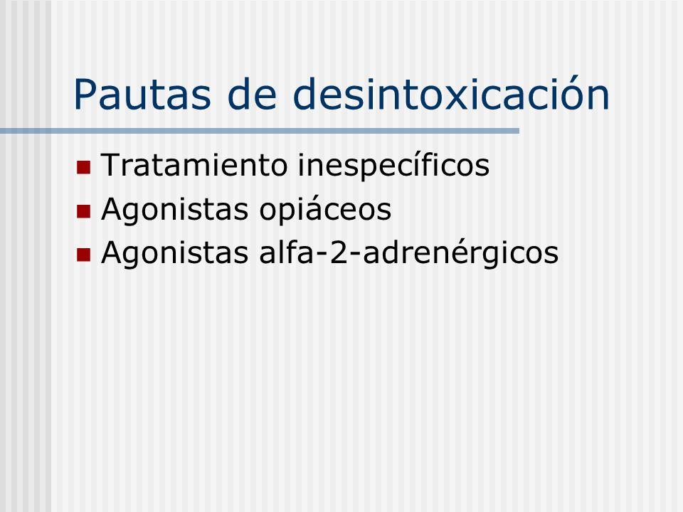 Tratamientos inespecíficos: indicaciones Primera desintoxicación Util en ocasiones previas Apoyo familiar Deseo intenso de abandonar consumo Consumos de heroína: 250-500 mg/día No abuso previo de esos fármacos