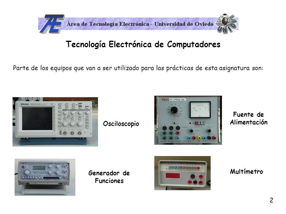 3 Tecnología Electrónica de Computadores El osciloscopio es básicamente un dispositivo de visualización gráfica que muestra señales eléctricas variables en el tiempo.