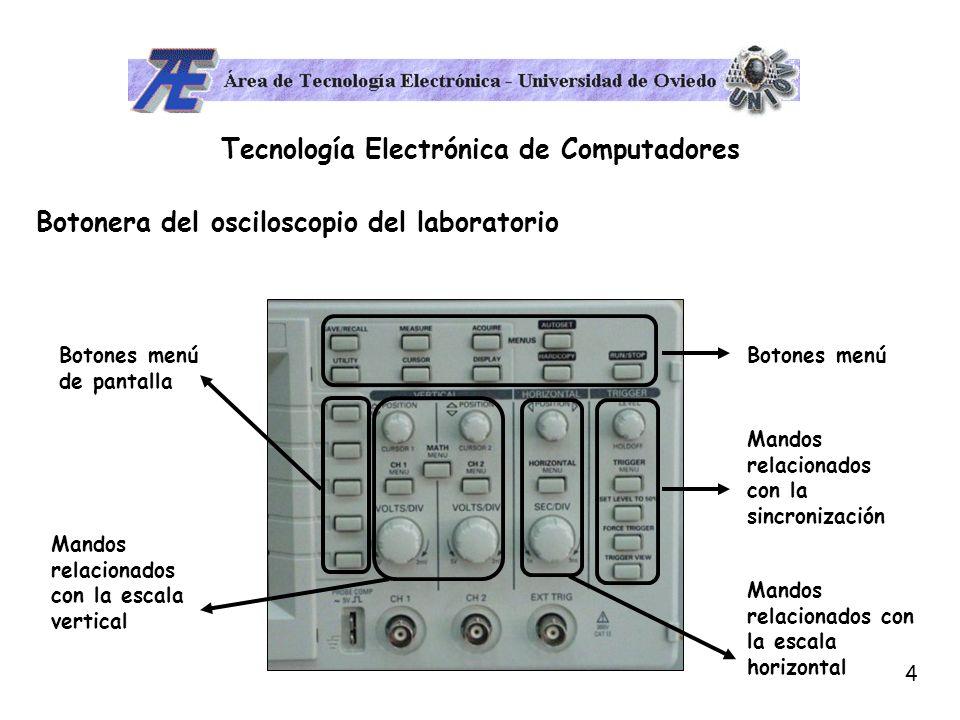 5 Tecnología Electrónica de Computadores Sistema de visualización del osciloscopio El osciloscopio es un equipo que sirve para visualizar formas de onda de TENSIÓN de un circuito.