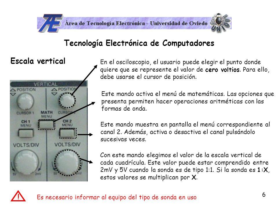 7 Tecnología Electrónica de Computadores Escala horizontal Con este mando se selecciona el valor horizontal de cada cuadrícula.