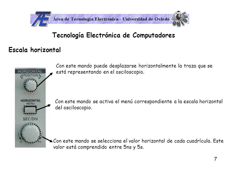 8 Tecnología Electrónica de Computadores Menú de disparo (Sincronización) El osciloscopio está pensado para representar formas de onda periódicas.