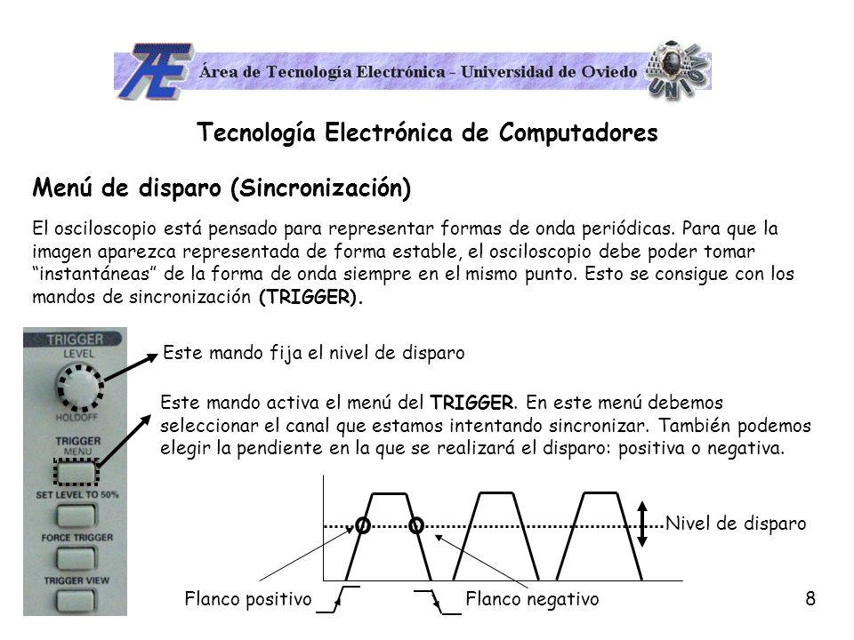 9 Tecnología Electrónica de Computadores Modo DC y AC En el menú de selección de cada canal aparece una de las opciones de más interés del osciloscopio: el modo DC y el modo AC.
