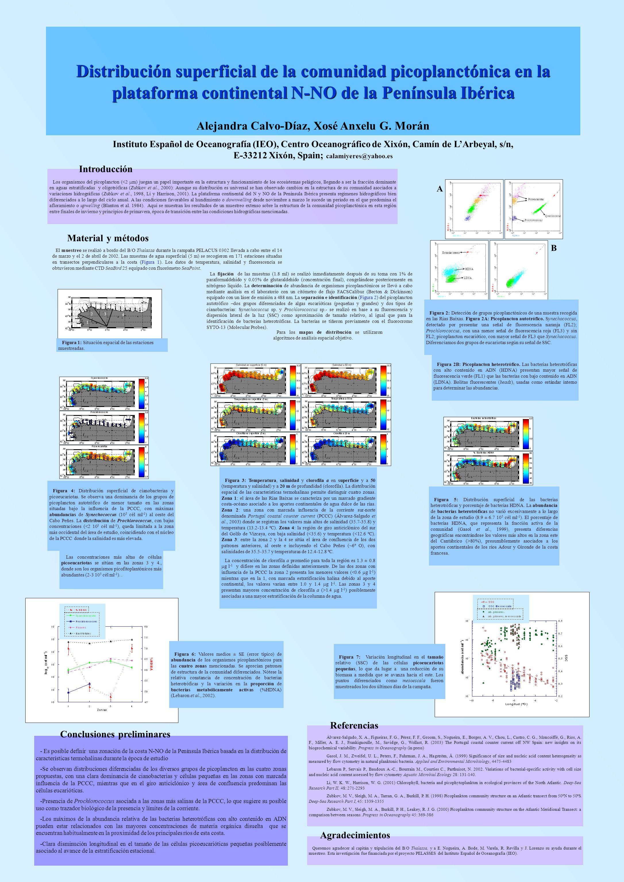Distribución superficial de la comunidad picoplanctónica en la plataforma continental N-NO de la Península Ibérica Los organismos del picoplancton (<2