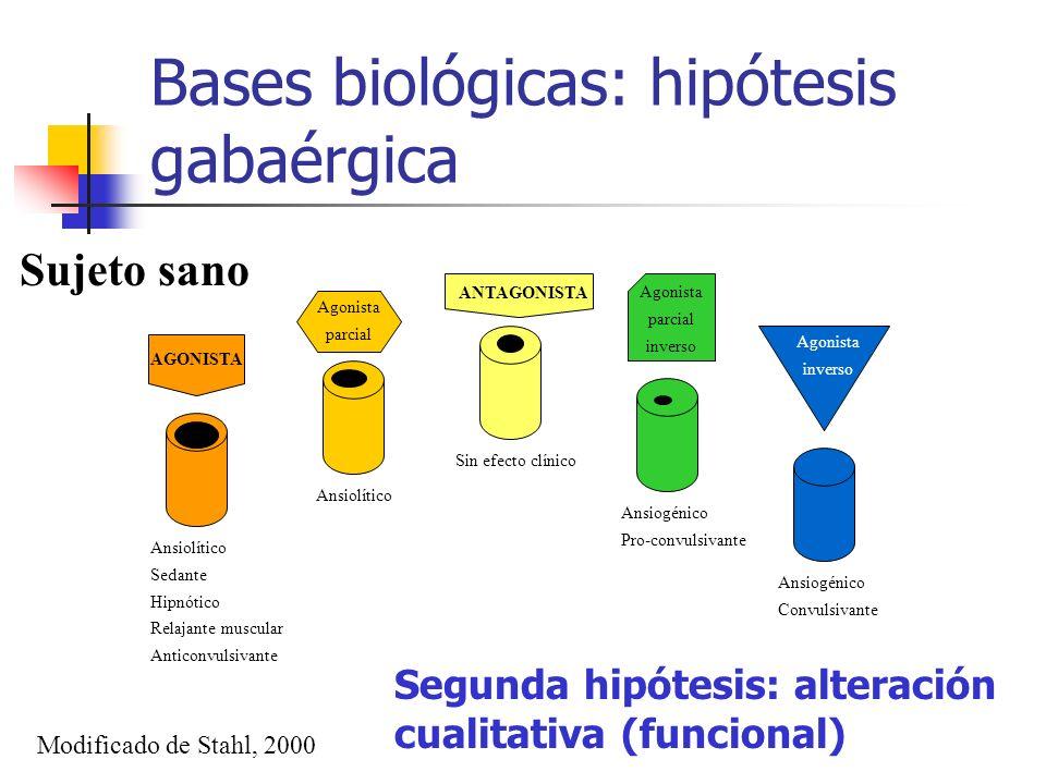 Bases biológicas: hipótesis gabaérgica AGONISTA Agonista parcial ANTAGONISTA Agonista parcial inverso Agonista inverso Ansiolítico Sedante Hipnótico R