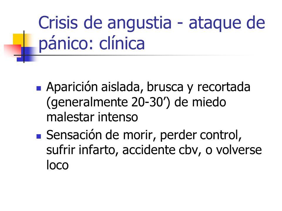 Aparición aislada, brusca y recortada (generalmente 20-30) de miedo malestar intenso Sensación de morir, perder control, sufrir infarto, accidente cbv