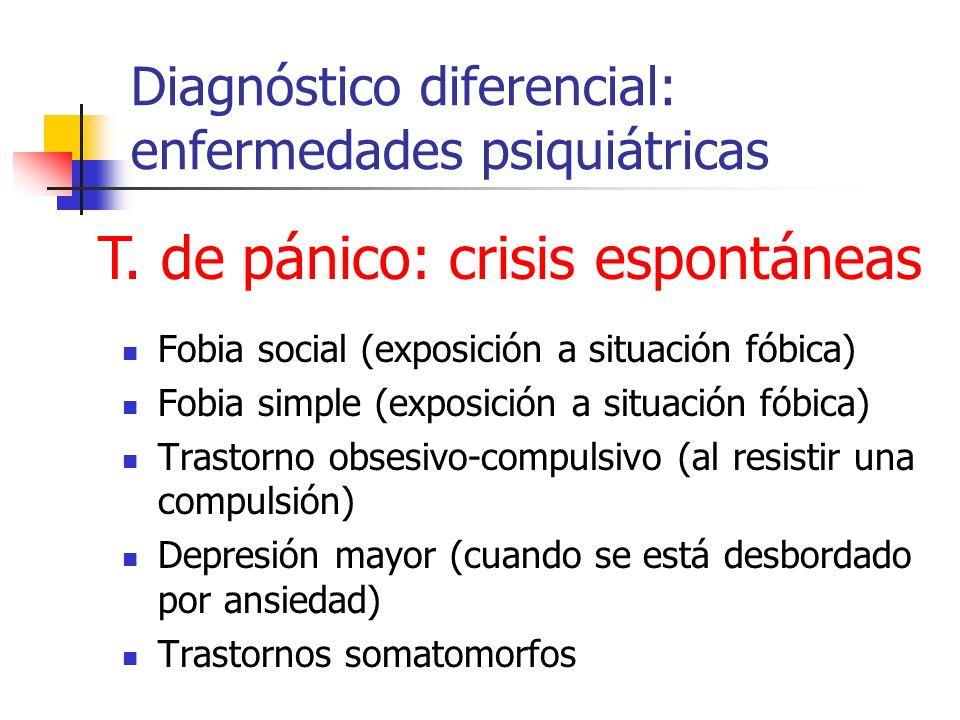 Diagnóstico diferencial: enfermedades psiquiátricas Fobia social (exposición a situación fóbica) Fobia simple (exposición a situación fóbica) Trastorn