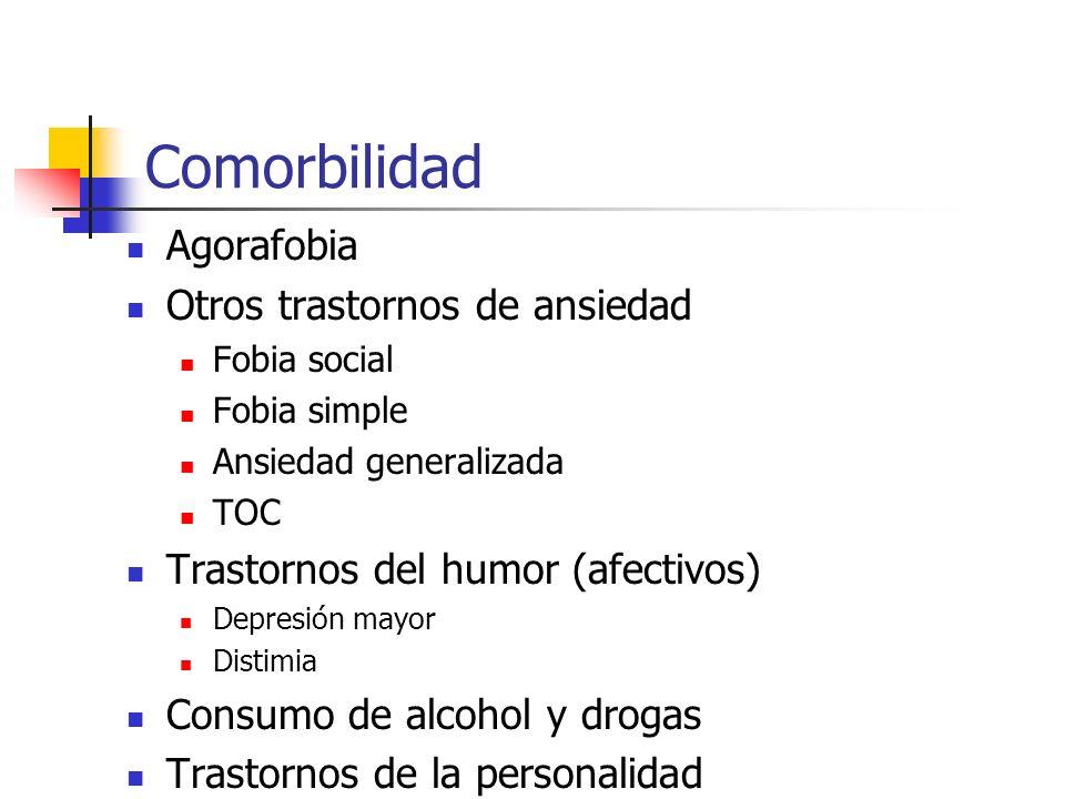 Comorbilidad Agorafobia Otros trastornos de ansiedad Fobia social Fobia simple Ansiedad generalizada TOC Trastornos del humor (afectivos) Depresión ma