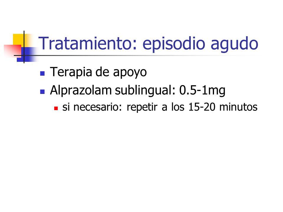 Tratamiento: episodio agudo Terapia de apoyo Alprazolam sublingual: 0.5-1mg si necesario: repetir a los 15-20 minutos