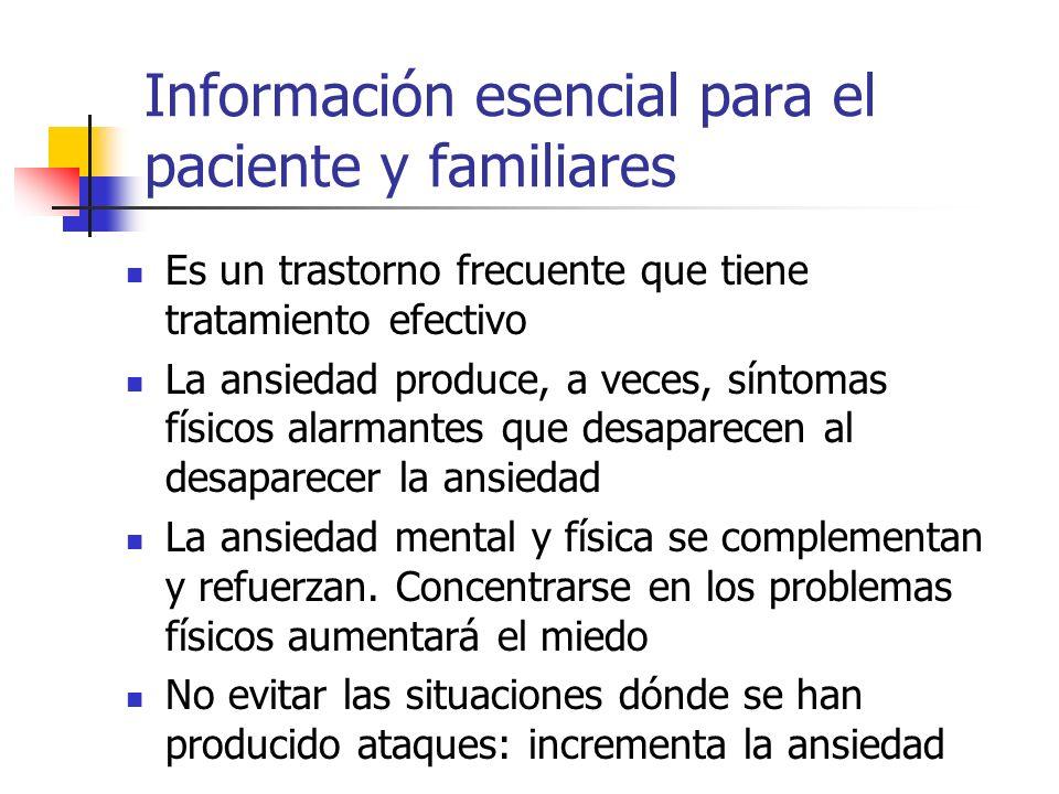 Información esencial para el paciente y familiares Es un trastorno frecuente que tiene tratamiento efectivo La ansiedad produce, a veces, síntomas fís
