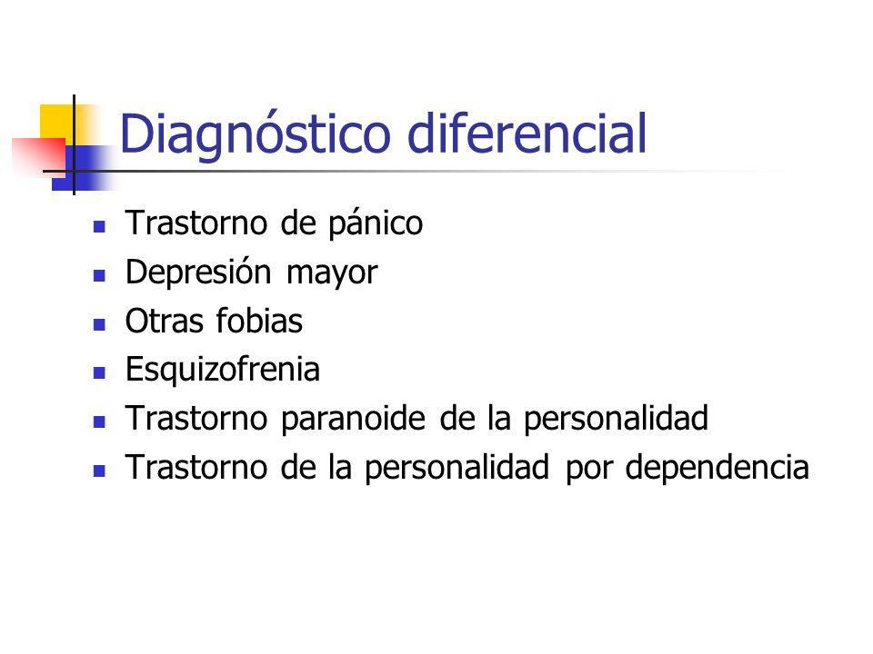 Diagnóstico diferencial Trastorno de pánico Depresión mayor Otras fobias Esquizofrenia Trastorno paranoide de la personalidad Trastorno de la personal