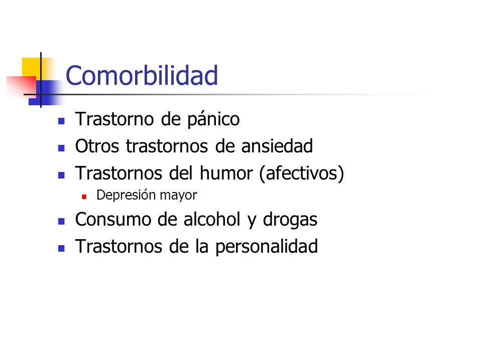 Comorbilidad Trastorno de pánico Otros trastornos de ansiedad Trastornos del humor (afectivos) Depresión mayor Consumo de alcohol y drogas Trastornos
