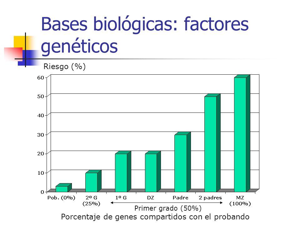 Bases biológicas: factores genéticos Riesgo (%) Porcentaje de genes compartidos con el probando Primer grado (50%)