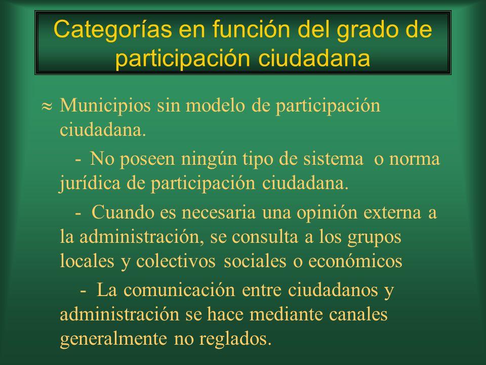 Con modelo participativo de soporte: -Poseen reglamentos y órganos de participación, información y consulta sobre la gestión local.