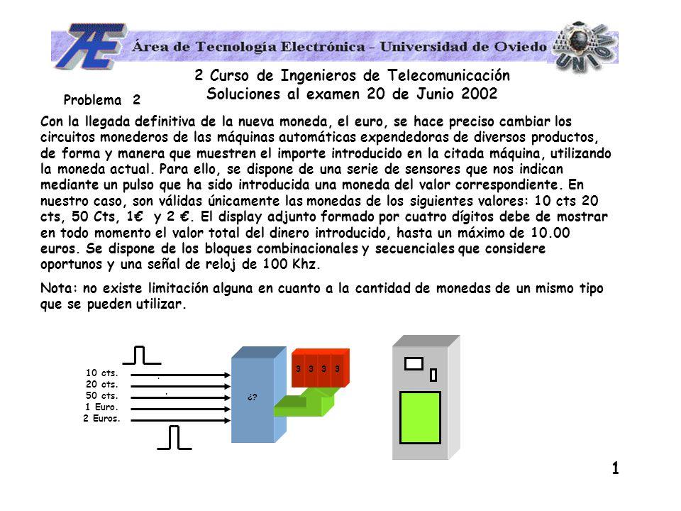 2 Curso de Ingenieros de Telecomunicación Soluciones al examen 20 de Junio 2002 2 Solución: El problema consiste en realizar un contador de forma que se incremente en cierta cantidad dependiendo de la señal que reciba; puede implementarse de la siguiente forma: BCD BCD/7 seg 10 cts.