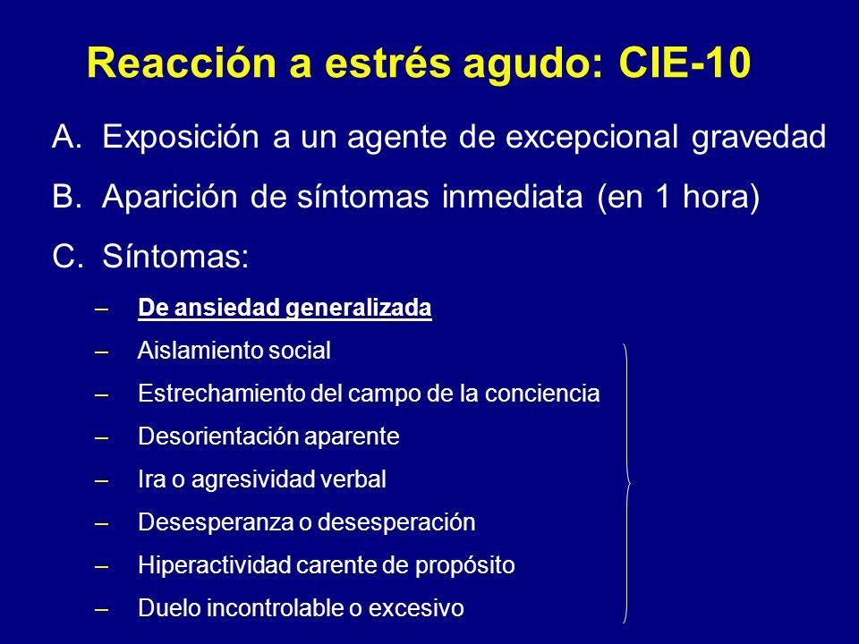 Reacción a estrés agudo: CIE-10 A.Exposición a un agente de excepcional gravedad B.Aparición de síntomas inmediata (en 1 hora) C.Síntomas: –De ansieda