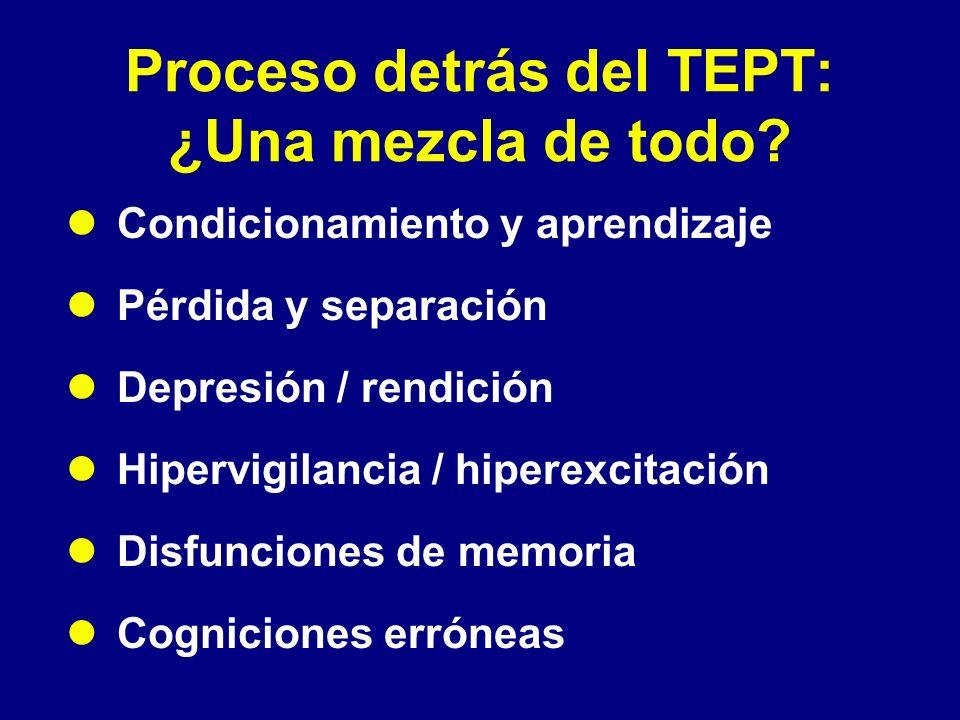 Proceso detrás del TEPT: ¿Una mezcla de todo? Condicionamiento y aprendizaje Pérdida y separación Depresión / rendición Hipervigilancia / hiperexcitac