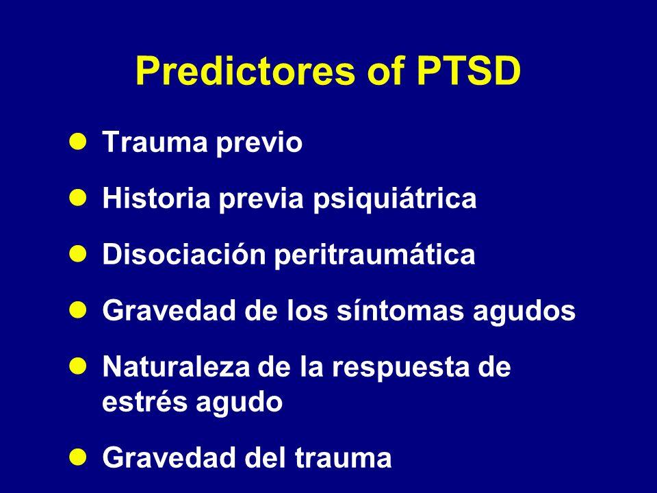 Predictores of PTSD Trauma previo Historia previa psiquiátrica Disociación peritraumática Gravedad de los síntomas agudos Naturaleza de la respuesta d