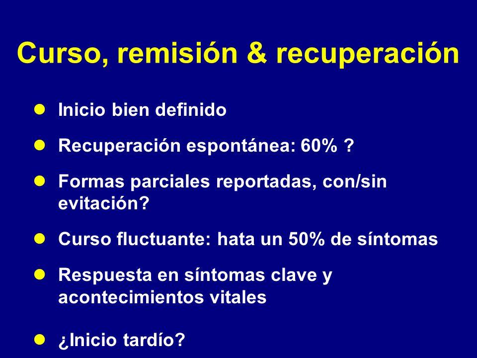Curso, remisión & recuperación Inicio bien definido Recuperación espontánea: 60% ? Formas parciales reportadas, con/sin evitación? Curso fluctuante: h