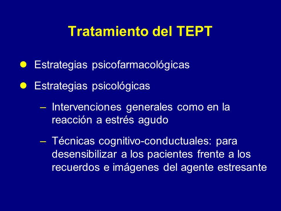 Tratamiento del TEPT Estrategias psicofarmacológicas Estrategias psicológicas –Intervenciones generales como en la reacción a estrés agudo –Técnicas c