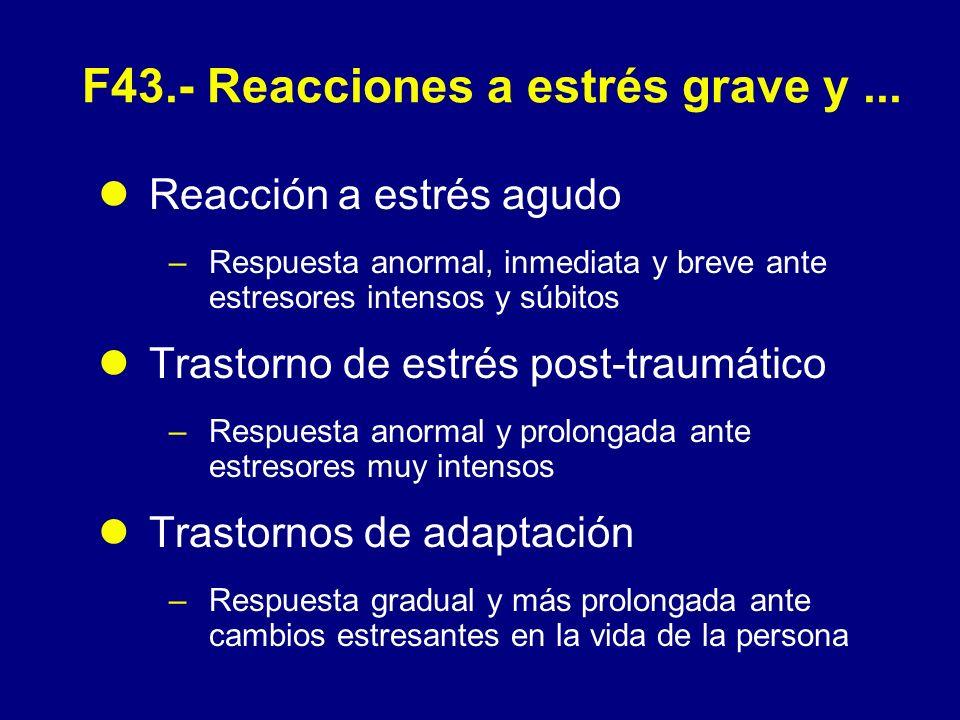 F43.0 - Reacción a estrés agudo (CIE-10) T transitorio de una gravedad importante que aparece en un individuo sin otro T mental aparente, como respuesta a un estrés físico o psicológico excepcional y que por lo general remite en horas o días