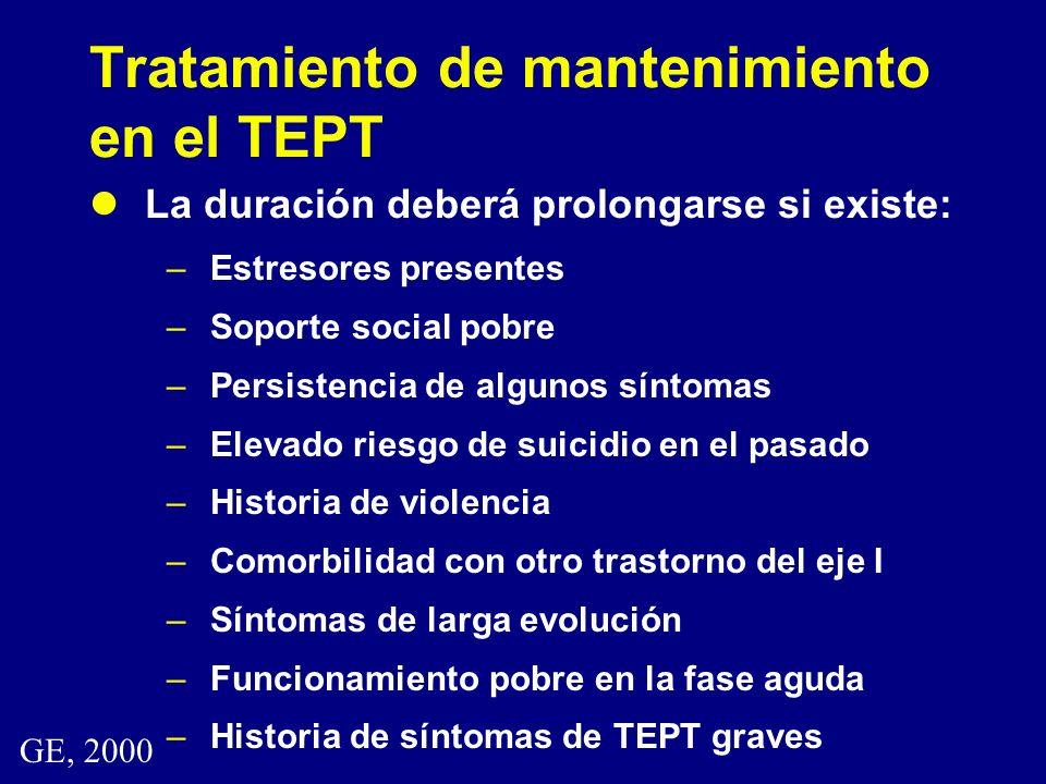 Tratamiento de mantenimiento en el TEPT La duración deberá prolongarse si existe: –Estresores presentes –Soporte social pobre –Persistencia de algunos