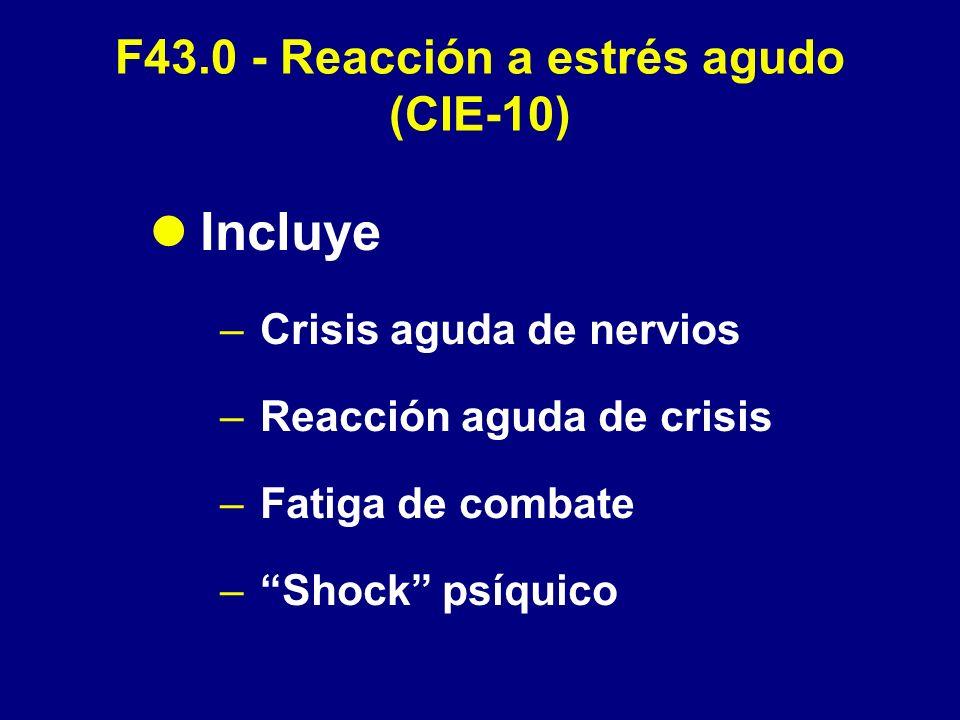 F43.0 - Reacción a estrés agudo (CIE-10) Incluye –Crisis aguda de nervios –Reacción aguda de crisis –Fatiga de combate –Shock psíquico