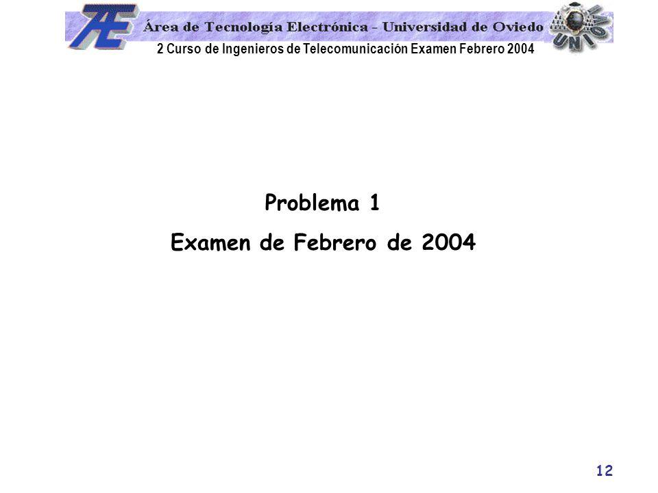 2 Curso de Ingenieros de Telecomunicación Examen Febrero 2004 12 Problema 1 Examen de Febrero de 2004