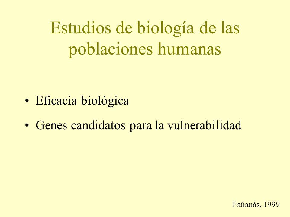 Estudios de biología de las poblaciones humanas Eficacia biológica Genes candidatos para la vulnerabilidad Fañanás, 1999